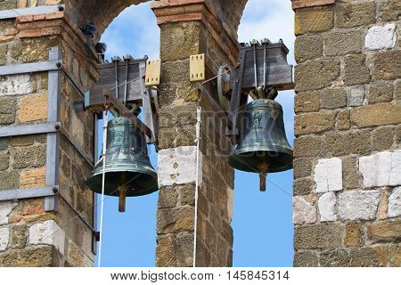 Architectural elements of old bell tower and church in Gaeta Italy