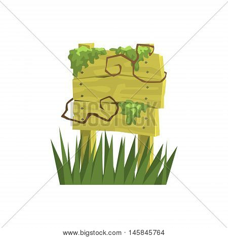 Old Wooden Sign Covered In Vegetation Jungle Landscape Element. Simple Tropical Forest Object Illustration Isolated On White Background.