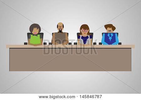 Technology/Business People sitting on a Table in an Interview Panel Illustration of compartment acting as a judgment or interview panel.