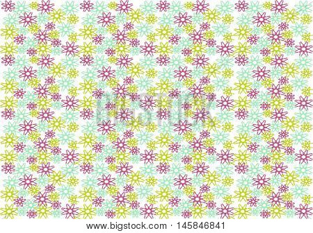 Stock Vector Illustration of  Colorful Snowflakes pattern