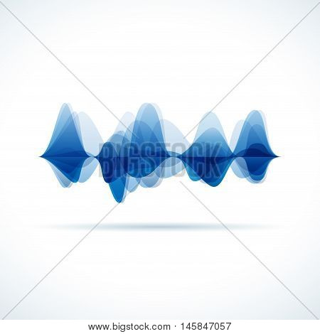 Vector audio and sound waves, white background