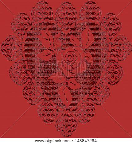 Stock Vector Illustration of Crochet heart background