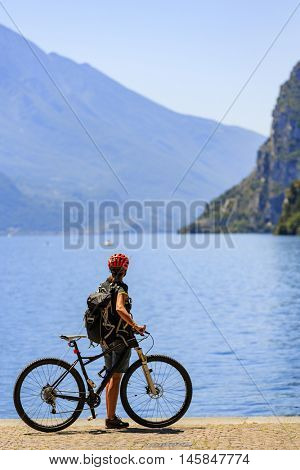 Mountain biking on Lake Garda, Riva del Garda, Italy. Amazing view of Lake Garda.