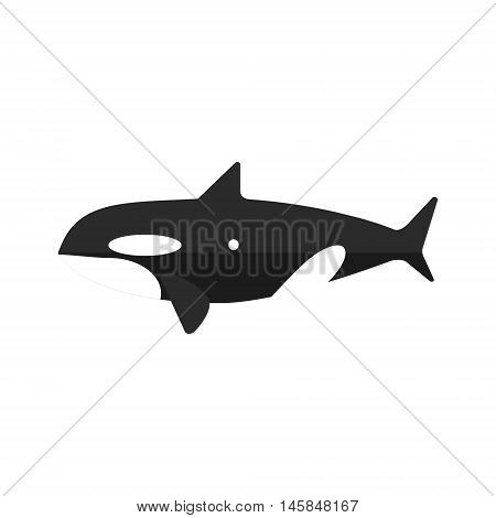 Orca Whale Primitive Style Childish Sticker. Marine Animal Minimalistic Vector Illustration Isolated On White Background.
