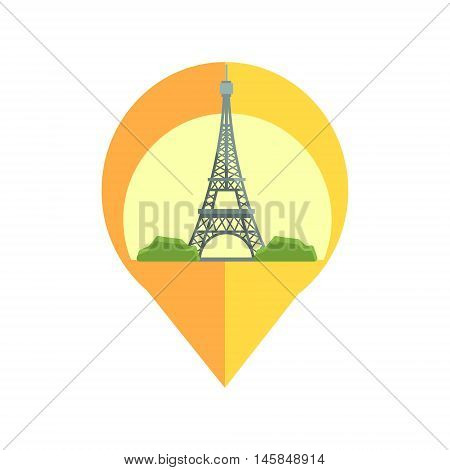 On-line Map Marker With Eifel Tower. Smartphone App Classic Destination Tag In Geometric Design Isolated On White Background