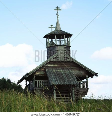 John the Baptist Chapel in Zekhnovo Village. Small wooden chapel. One of Kenozersky National Park symbols. Kenozero Arkhangelsk region Russia.