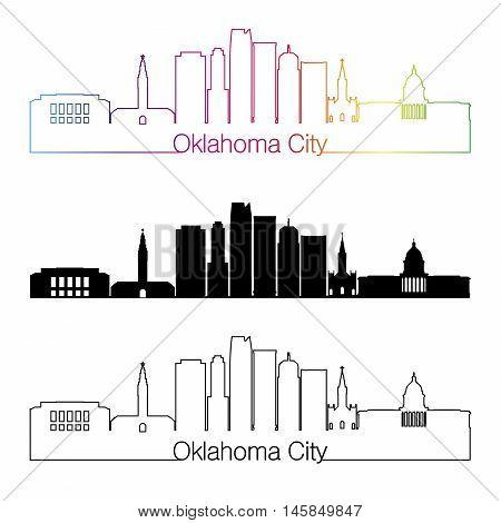 Oklahoma City skyline linear style with rainbow in editable vector file