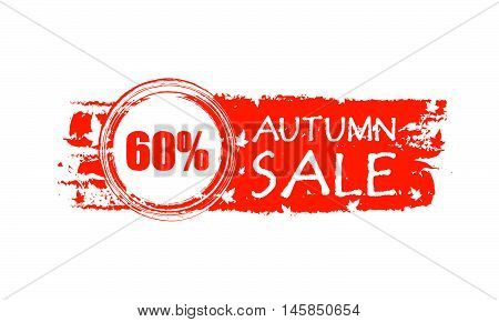 autumn sale with 60 percentages - orange drawn banner with text and fall leaves, business concept, vector