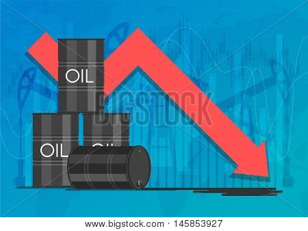 Oil industry crisis concept. Drop in crude oil prices chart. Financial markets vector illustration.