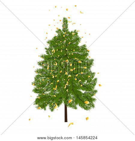 Green lush fir, decorated with gold confetti. Fir branches. Isolated on white vector illustration