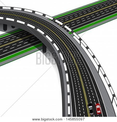 Car overpass crosses the highway. Road interchange. Vector illustration