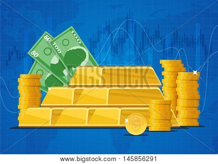 Gold bars, money banknotes and dollar coins. Business and finance markets concept vector illustration in flat style design.