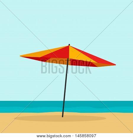Beach umbrella vector illustration isolated, flat cartoon red orange umbrella on empty beach and sea horizon
