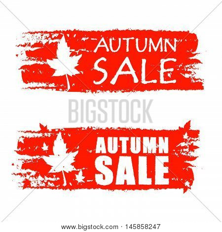 autumn sale - orange drawn banners with text and fall leaf, business concept, vector
