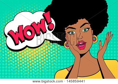 Wow pop art face. Attractive surprised african woman with open mouth and hand pointing on speech bubble. Vector colorful background in pop art retro comic style.
