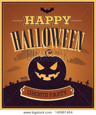 Happy Halloween creative typographic design. Vector illustration.