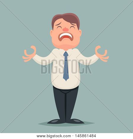 Despair Suffer Grief Businessman Emotion Character Icon Retro Cartoon Vector Illustration
