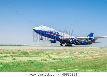 Baku - AUGUST 27, 2016: Airplane taking off on August 27 in Baku