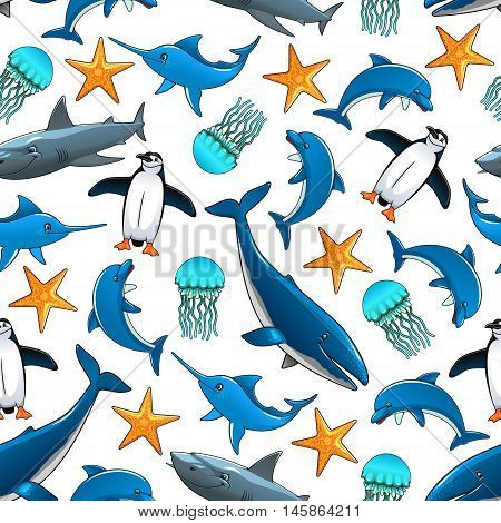 Ocean animals cartoon seamless background. Vector pattern of dolphin, penguin, shark, whale, starfish, swordfish, jellyfish. Wallpaper for children room, bathroom decoration