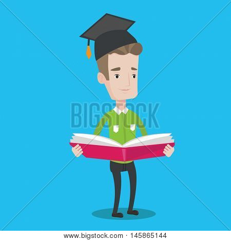 Happy graduate standing with a big open book in hands. Smiling male student in graduation cap reading a book. Man holding a book. Concept of education. Vector flat design illustration. Square layout.