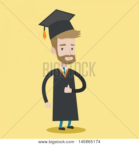 A happy graduate in cloak and graduation cap. A hipster graduate with the beard giving thumb up. Joyful graduate celebrating. Concept of education. Vector flat design illustration. Square layout.