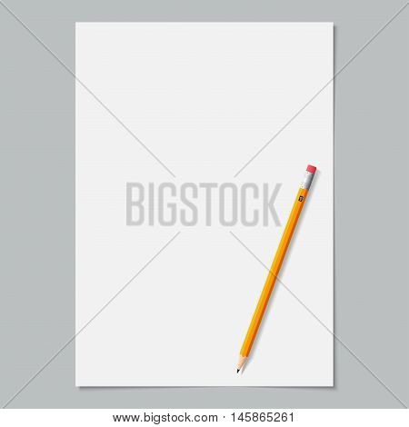 blank paper page white color with sharpened yellow pencil on the grey background. stock vector illustration esp10