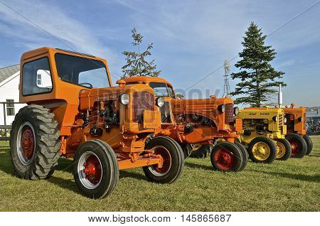 ROLLAG, MINNESOTA, Sept 1, 2016: Minneapolis Moline tractors are parked at the West Central Steam Threshers Reunion(WCSTR) where 1000s attend each Labor Day weekend in Rollag, MN each year.