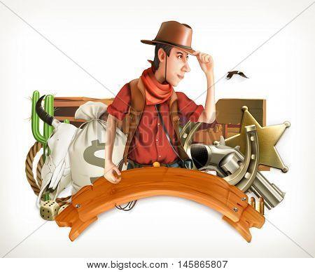 Cowboy Adventure. Western retro style. Game logo. 3d vector emblem