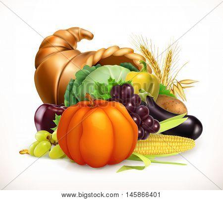 Horn of plenty. Harvest fruits and vegetables. Cornucopia. 3d vector icon