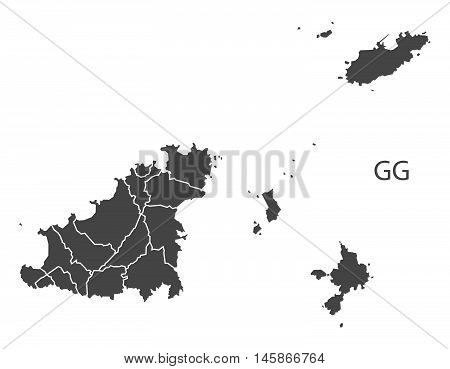 Guernsey grey map with regions isolated vector high res