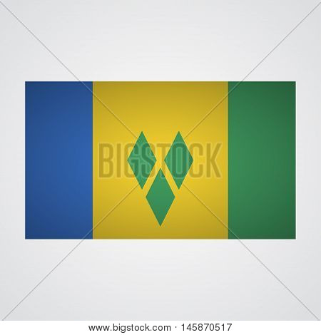 Saint Vincent flag flag on a gray background. Vector illustration
