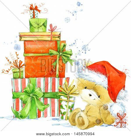 Christmas Card with Christmas cake. Watercolor Christmas cake illustration. Background for New Year invitation card.