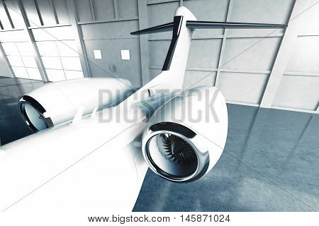 Photo of White Glossy Luxury Generic Design Private Jet parking in hangar airport. Concrete floor. Business Travel Picture. Horizontal, top view of the turbine. Film Effect. 3D rendering