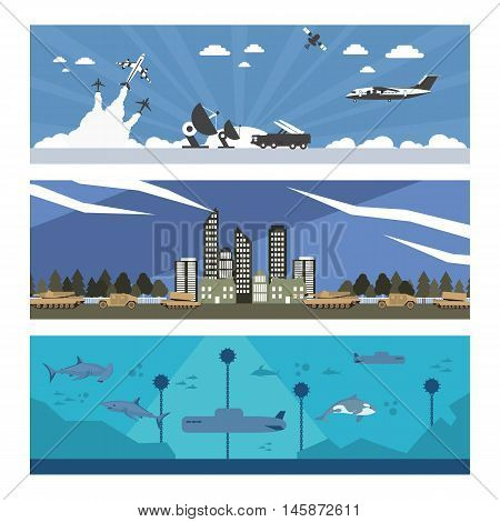 flat illustration of army troops in vector format eps10