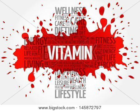 VITAMIN word cloud health cross concept, presentation background