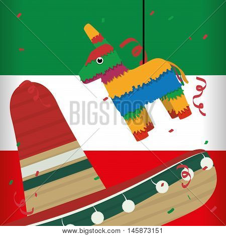 Mexico landmark and mexican culture theme. Colorful design. Vector illustration
