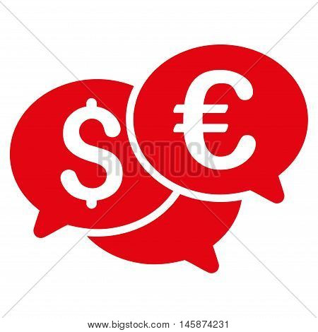 Currency Bids icon. Vector style is flat iconic symbol, red color, white background.