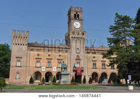 BUSSETO, PARMA, ITALY - JULY 30, 2016: Giuseppe Verdi Square, July 30, 2016