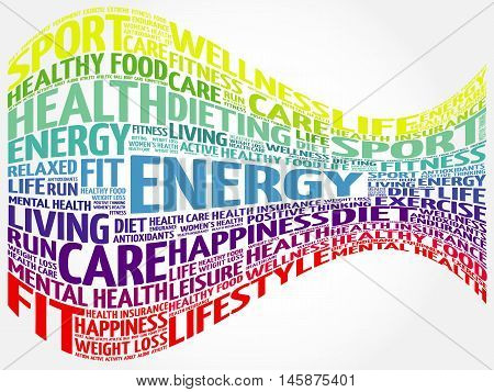ENERGY word cloud, health concept presentation background