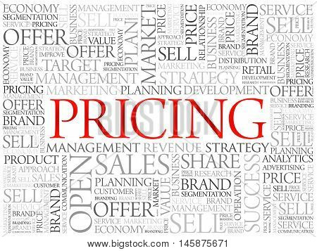 Pricing word cloud business concept , presentation background