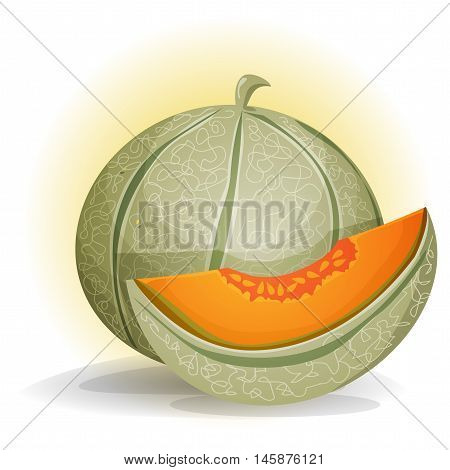 Illustration of an appetizing melon character with a separated quarter