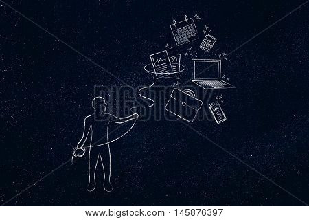 Person With Lasso Catching Office Objects, Multitasking At Work
