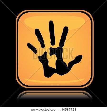 Yellow square icon hand print
