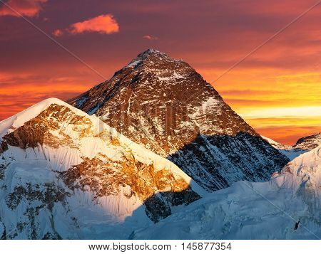 Evening colored view of Mount Everest from Kala Patthar Khumbu valley Solukhumbu Sagarmatha national park Nepal