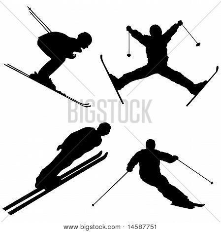 Silhouette set of different winter sports part 1