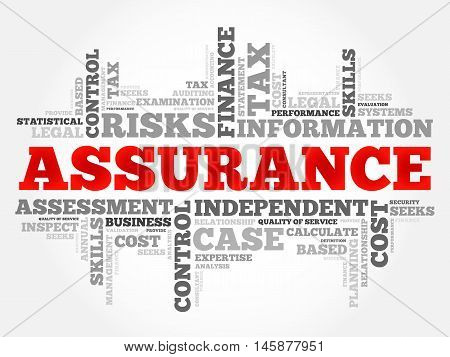 ASSURANCE word cloud business concept, presentation background