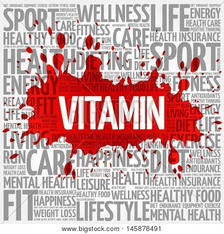 VITAMIN word cloud health concept, presentation background