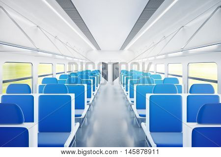 Empty passenger train interior with blue chairs. 3D Rendering