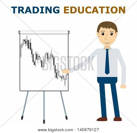 Trade mentor at the flipchart. Trading education concept. Market analysis forex stock trade. Vector illustration.