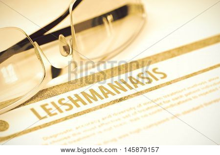 Leishmaniasis - Medicine Concept with Blurred Text and Spectacles on Red Background. Selective Focus. 3D Rendering.